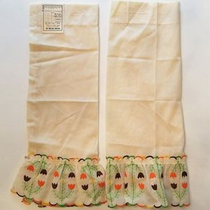 Two Vintage Curtain Panels Embroidered